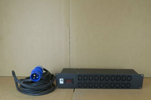 20 Port 16A 240V 2U Black Power Distribution Unit Rackmount Network Cabinet PDU